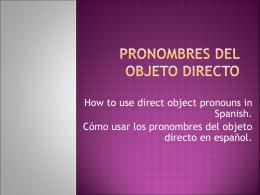 Pronombres del objeto directo