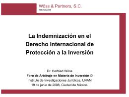 Herfried Wöss: La Indemnización en el Derecho Internacional de
