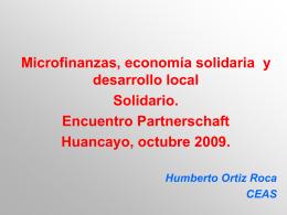 Microfinanzas, economía solidaria y desarrollo