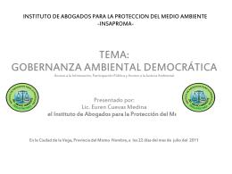 Gobernanza Ambiental de la Rep. Dom.
