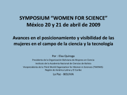 "SYMPOSIUM ""WOMEN FOR SCIENCE"" México 20 y 21"