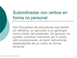 oraciones subordinadas con formas verbales no personales
