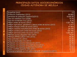PRINCIPALES DATOS SOCIOECONÓMICOS CIUDAD AUTÓNOMA