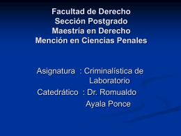 Facultad de Derecho y Ciencia Política Sección Postgrado Maestría