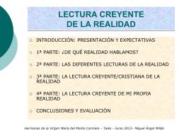 Lectura creyente 2013 - HH. de la Virgen María del Monte Carmelo