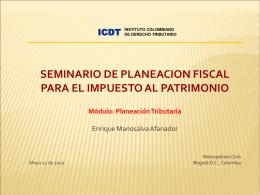 ICDT-Presentación Seminario Planeación Fiscal Impuesto al