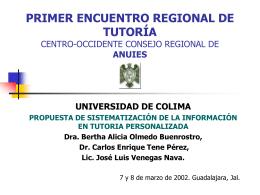 PRIMER ENCUENTRO REGIONAL DE TUTORÍA CENTRO