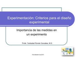Experimentación: Diseño experimental
