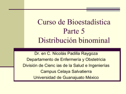 Biostatistics course Part 5. Binomial distribution in Spanish