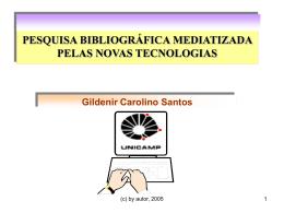 Pesquisa Bibliográfica mediatizada pelas novas tecnologias