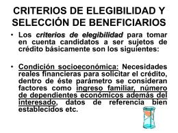CRITERIOS DE ELEGIBILIDAD Y SELECCIÓN DE BENEFICIARIOS