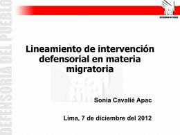 Lineamiento de intervención defensorial en materia migratoria