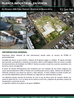 PLANTA INDUSTRIAL EN VENTA Av. Marquez 2249, Pablo Podestá