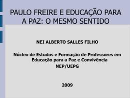 Educação para a paz segundo Paulo Freire