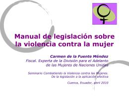 Manual de legislación sobre la violencia contra la mujer