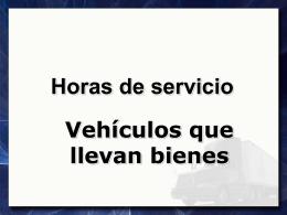 Horas de servicio Vehículos que llevan bienes