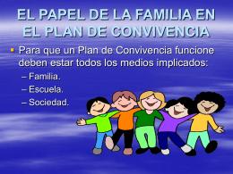 Papel de la familia en el Plan de Convivencia.