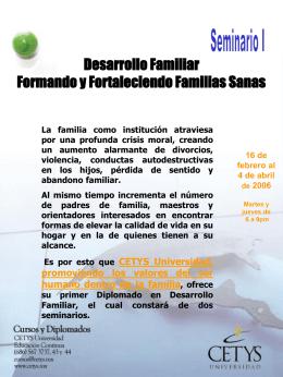 Desarrollo Familiar Formando y Fortaleciendo Familias Sanas