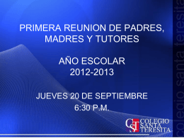 Presentacion primera reunion padres. Sept. 2013. version final