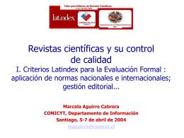 Revistas científicas y su control de calidad