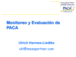 Monitoring and Evaluation of PACA - PACA