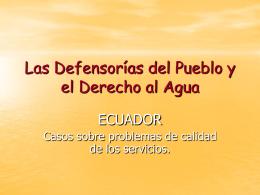Las Defensorías del Pueblo y el Derecho al Agua