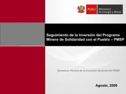 Seguimiento de la Inversión del Programa Minero de Solidaridad