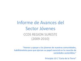 Informe de actividades del Sector Jóvenes
