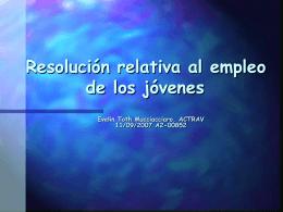 Resolución relativa al empleo de los jóvenes