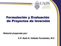 Estudio y evaluación de proyectos de inversión