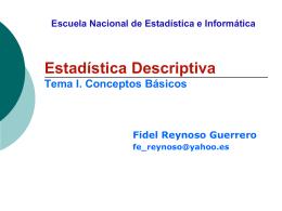 Unidad I. Conceptos Básicos y Estadística Descriptiva