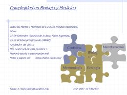 Complejidad en Biologia y Medicina Fluctuaciones libres