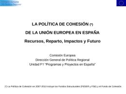 Política de Cohesión en España. - Dirección General de Fondos