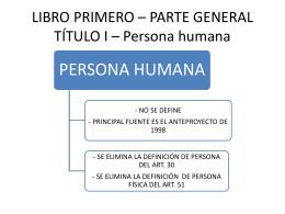 LIBRO PRIMERO – PARTE GENERAL TÍTULO I – Persona humana