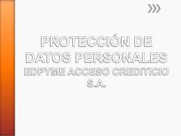 Datos Personales - Acceso Crediticio Edpyme