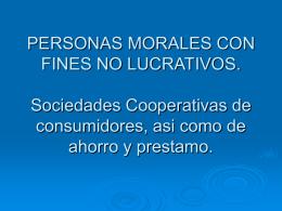 PERSONAS MORALES CON FINES NO LUCRATIVOS. Sociedades