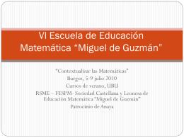 """V Escuela de Educación Matemática """"Miguel de Guzmán"""""""