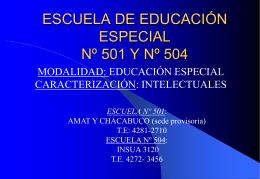 ESCUELA ESPECIAL Nº 501