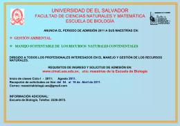 Anuncio!!! - Facultad de Ciencias Naturales y Matemática
