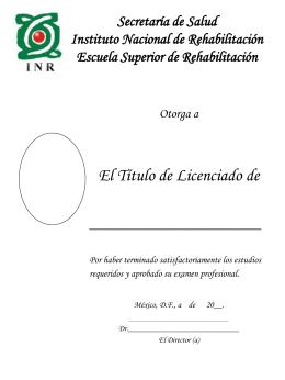Secretaría de Salud Instituto Nacional de Rehabilitacion Escuela