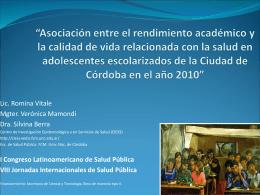 """""""Asociación entre el rendimiento académico y la calidad de vida"""