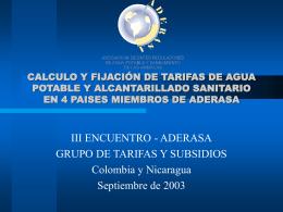 CALCULO Y FIJACIÓN DE TARIFAS DE AGUA POTABLE Y