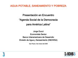 Presentación: Agua Potable, Saneamiento y Pobreza | Día 06 de