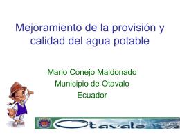 Mejoramiento de la provisión y calidad del agua potable