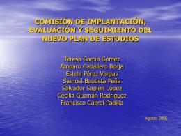 comisión de implantación, evaluación y seguimeinto del nuevo plan