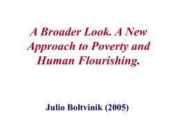 Ampliar la mirada. Un nuevo enfoque de la pobreza y el