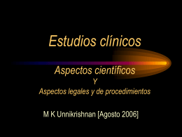 Clinical Trials. Scientific Aspects AND Legal & Procedural Aspects in