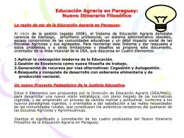 Educación Agraria en Paraguay: Nuevo Itinerario Filosófico