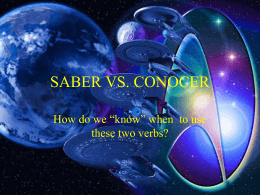 SABER VS. CONOCER - claybaughspanish