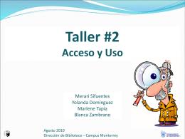 Taller #2 Acceso y Uso - Biblioteca